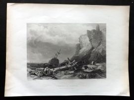 Finden 1842 Antique Print. Tynemouth Castle